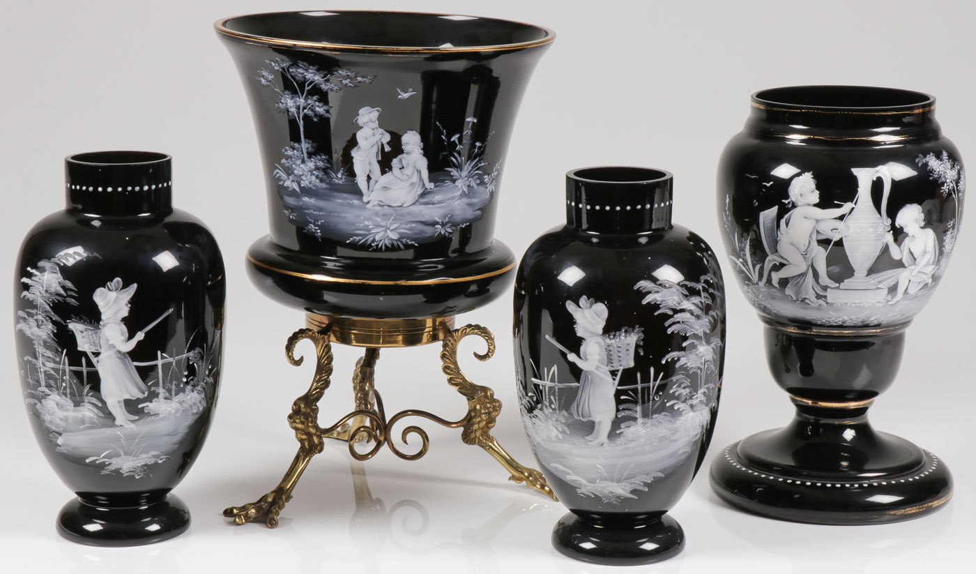 Lot 51 - FOUR EXCEPTIONAL MARY GREGORY VASES, C. 1890
