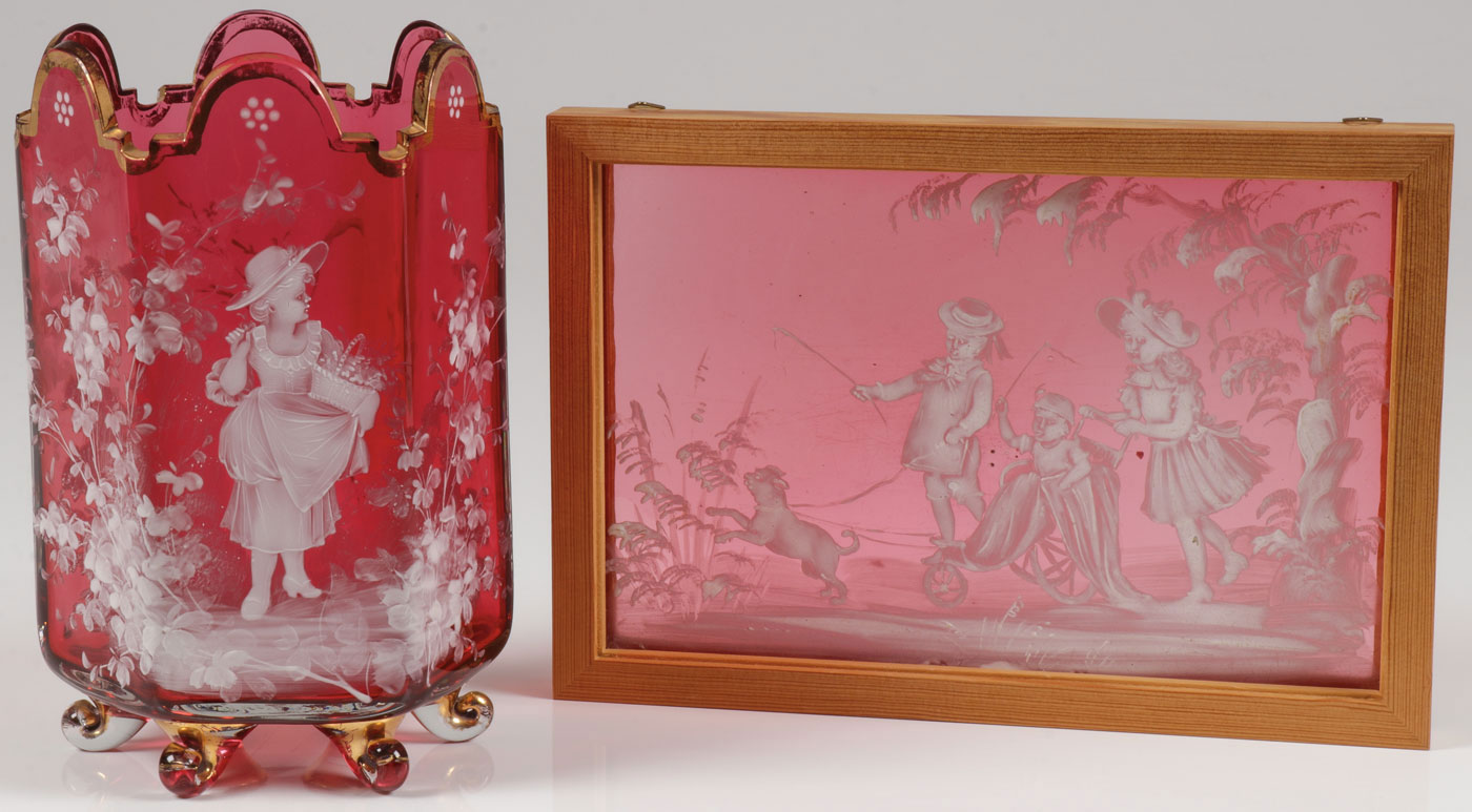 Lot 8 - MARY GREGORY CRANBERRY GLASS, C. 1880