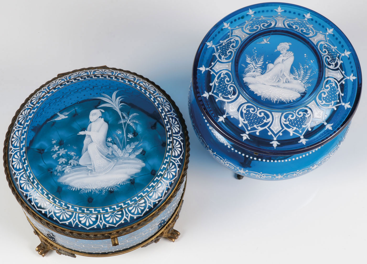 Lot 33 - TWO EXCEPTIONAL MARY GREGORY BOXES, C. 1890