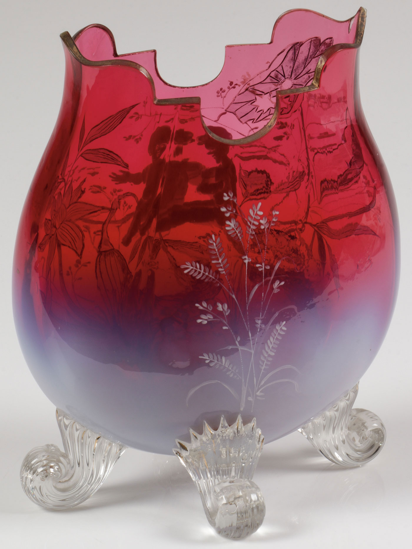 Lot 2 - AN EXCEPTIONAL MARY GREGORY FOOTED PILLOW VASE, C