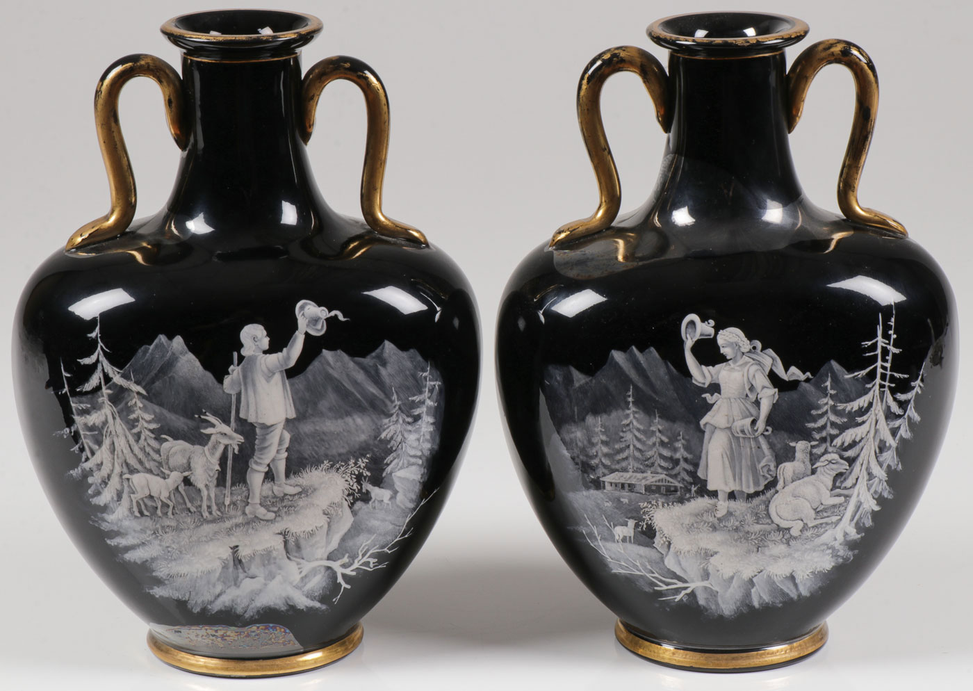 Lot 50 - A PAIR OF MARY GREGORY PILLOW VASES, C. 1880