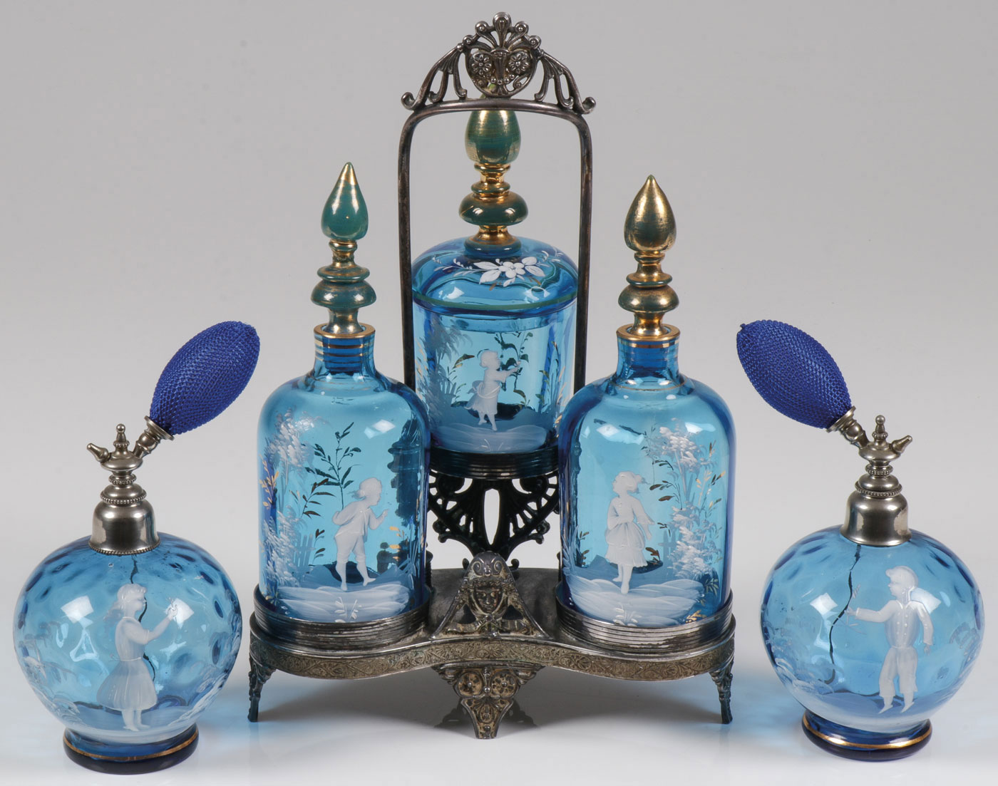 Lot 22 - MARY GREGORY SAPPHIRE BLUE PERFUMES, C. 1900