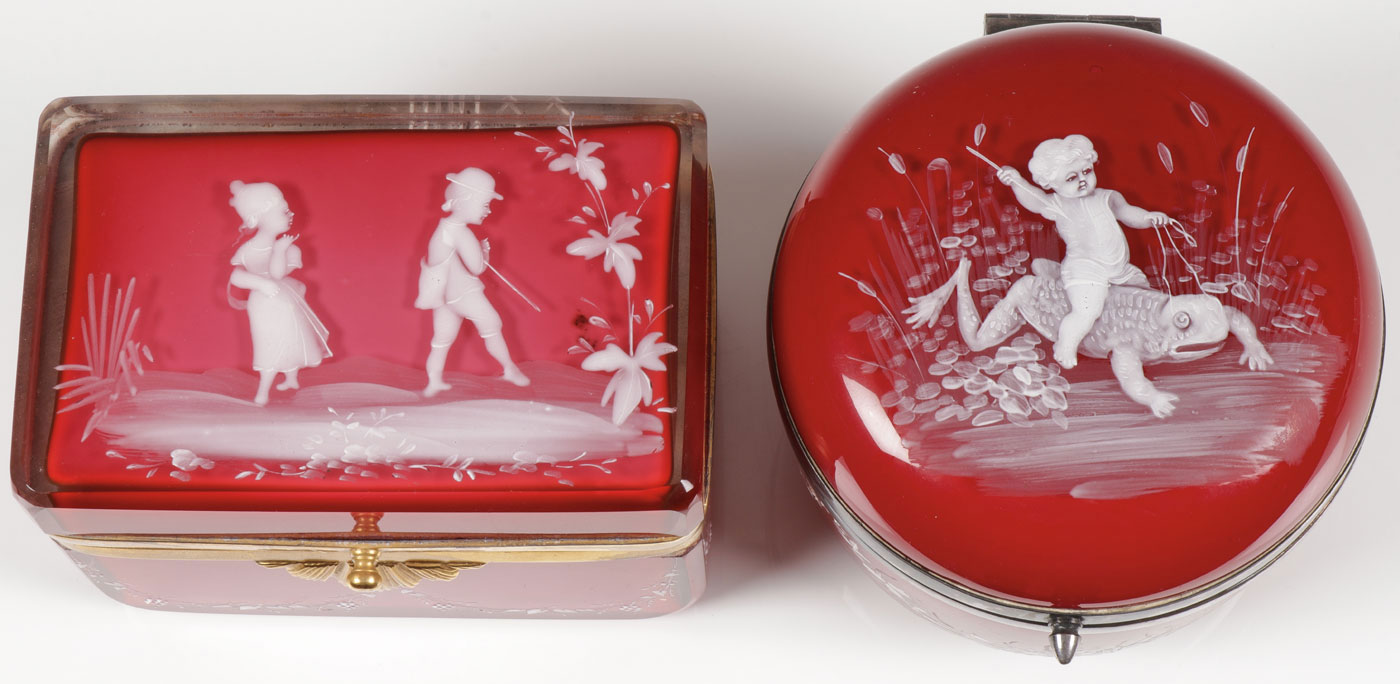 Lot 16 - PAIR OF CASED GLASS MARY GREGORY BOXES