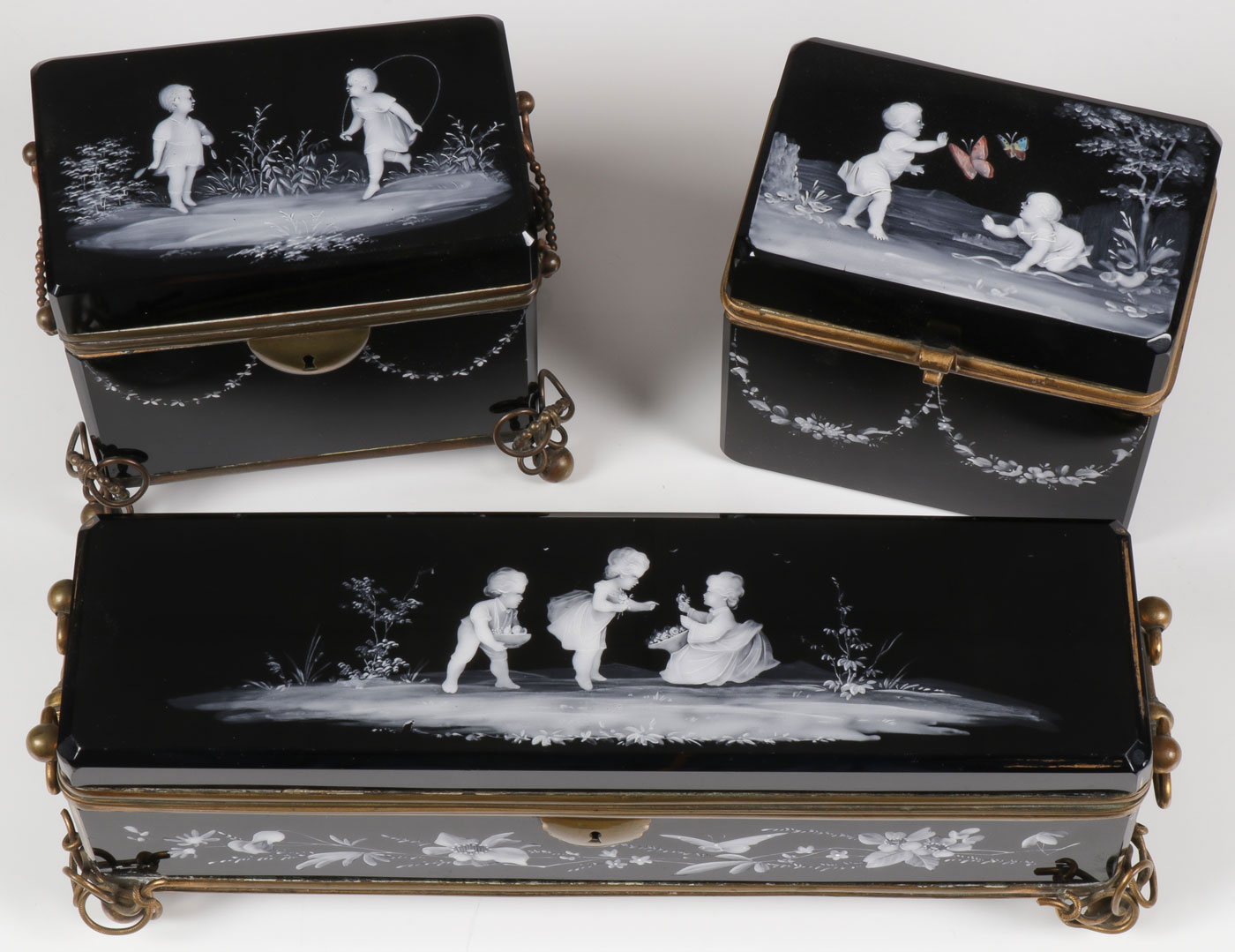 Lot 45 - THREE EXCEPTIONAL MARY GREGORY BOXES, C. 1880