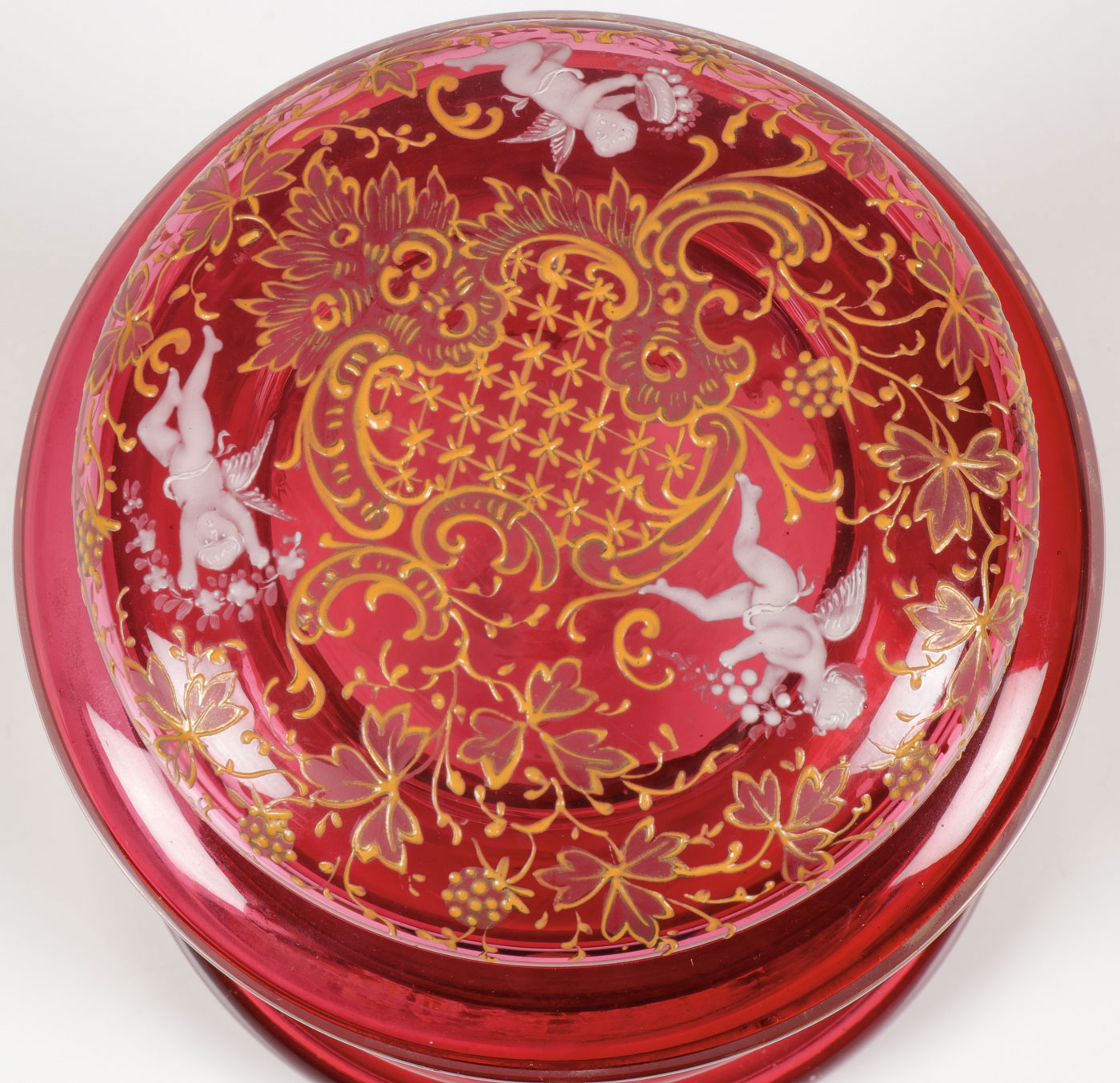Lot 12 - RARE CRANBERRY GLASS TOBACCO JAR, C. 1900