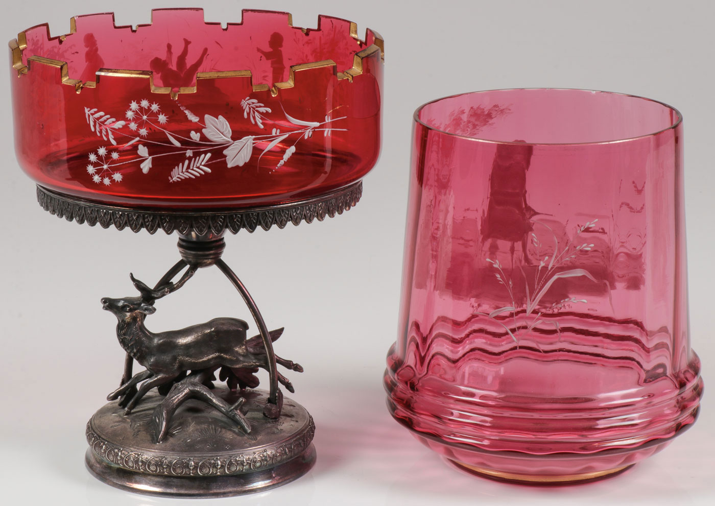 Lot 9 - PAIR OF MARY GREGORY CENTERPIECE BOWLS, C. 1900