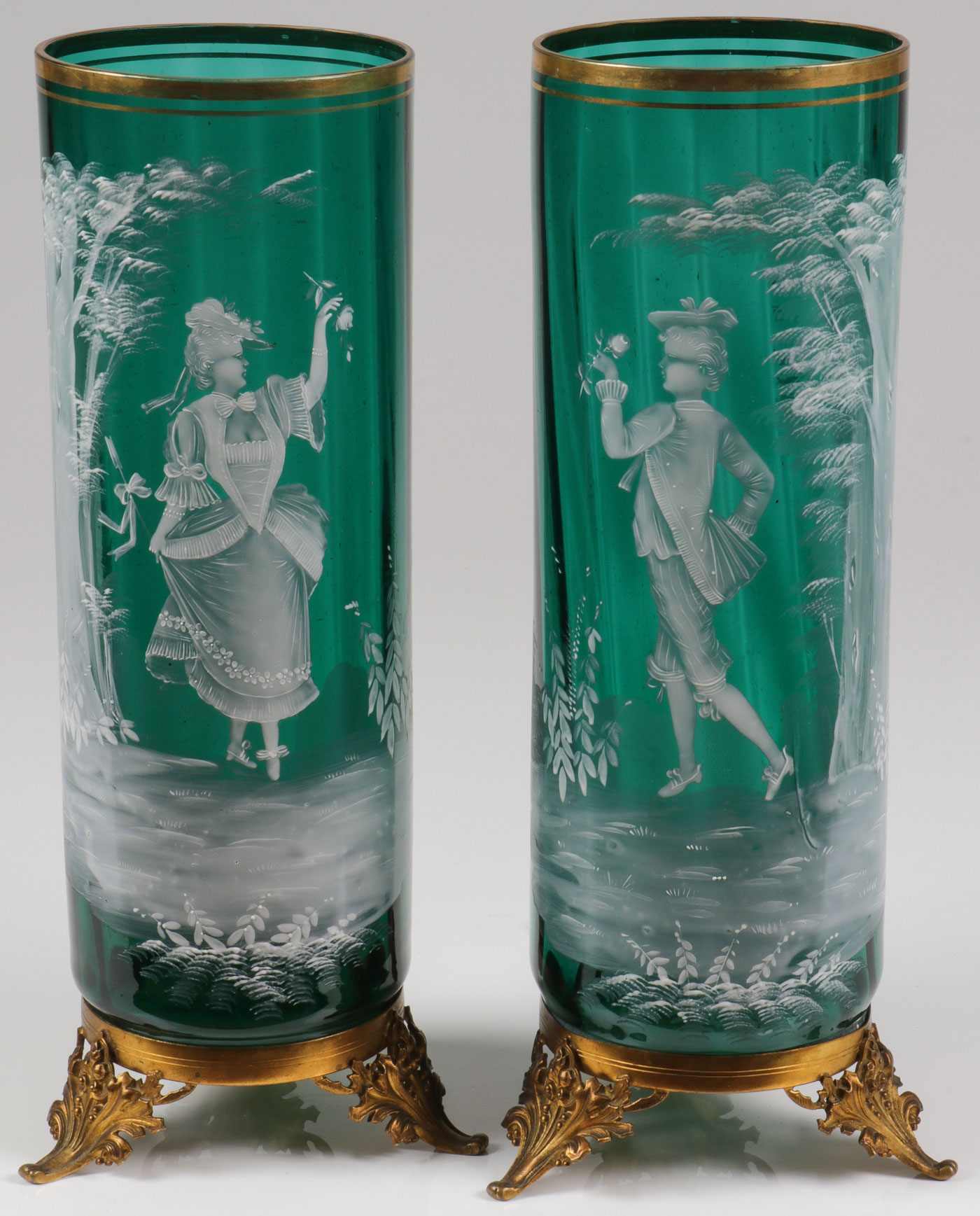 Lot 54 - PAIR LARGE MARY GREGORY EMERALD MANTEL VASES