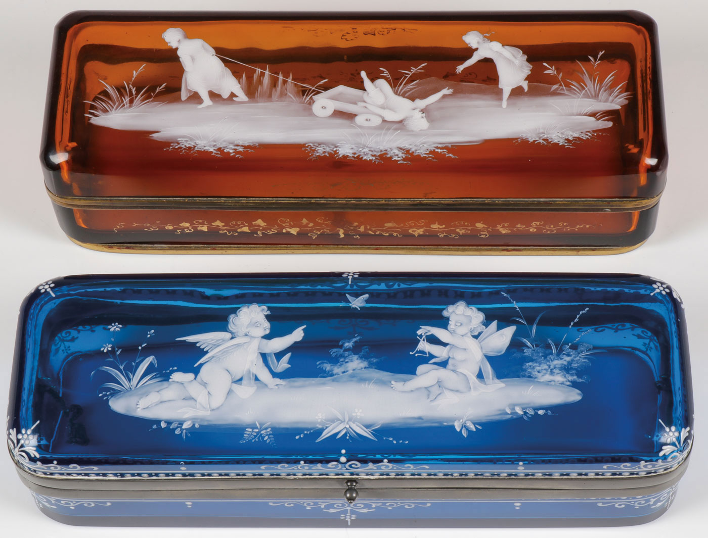 Lot 44 - EXCEPTIONAL MARY GREGORY GLOVE BOXES, C. 1880