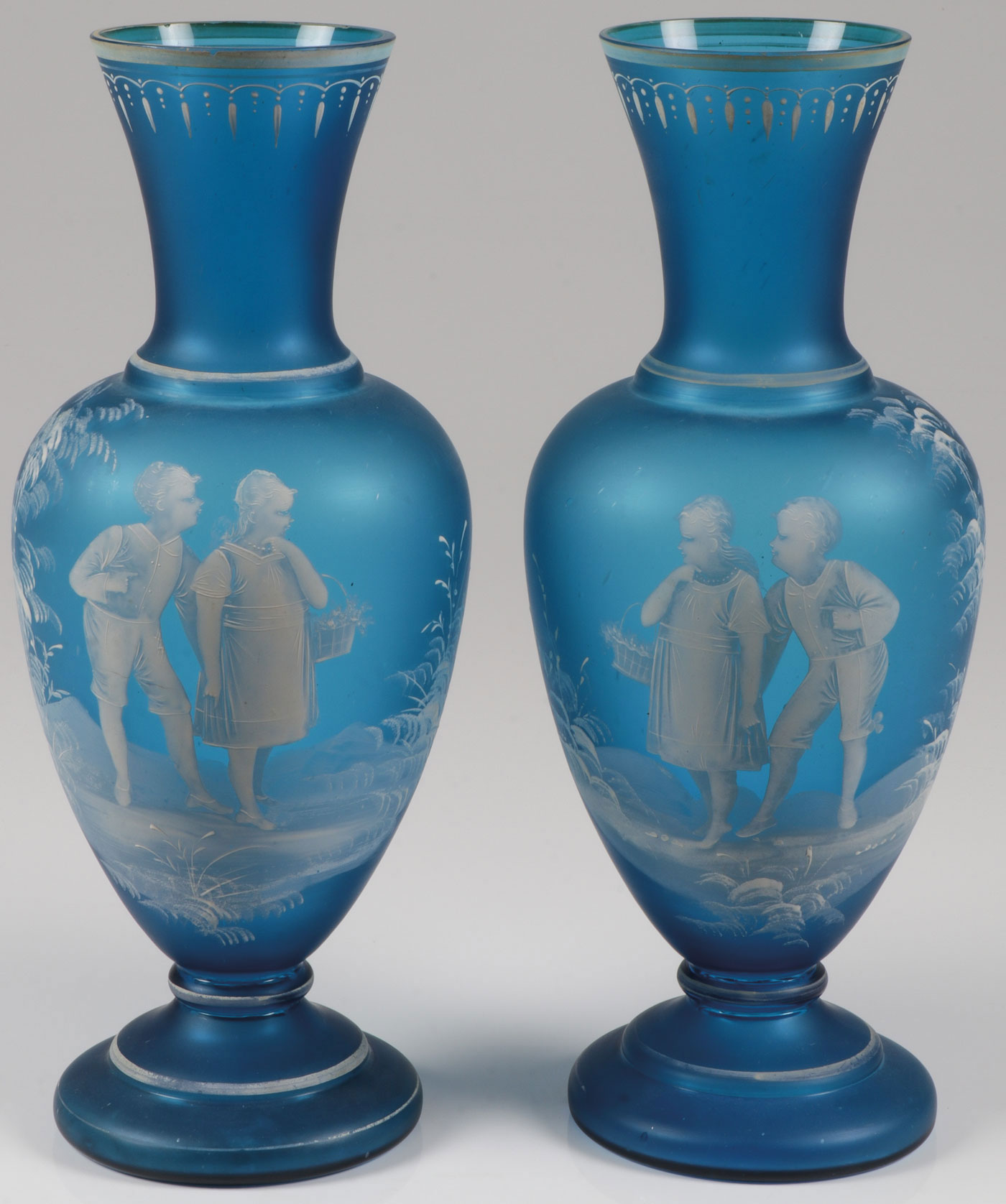 Lot 55 - EXCEPTIONAL PAIR MARY GREGORY MANTEL VASES