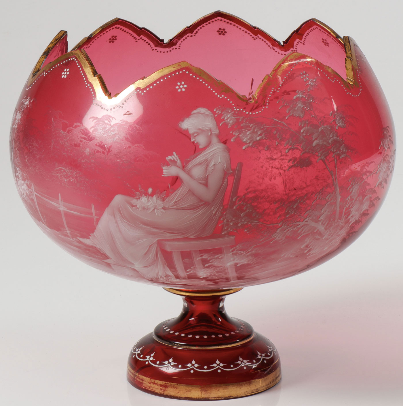 Lot 5 - EXCEPTIONAL MARY GREGORY CRANBERRY BOWL