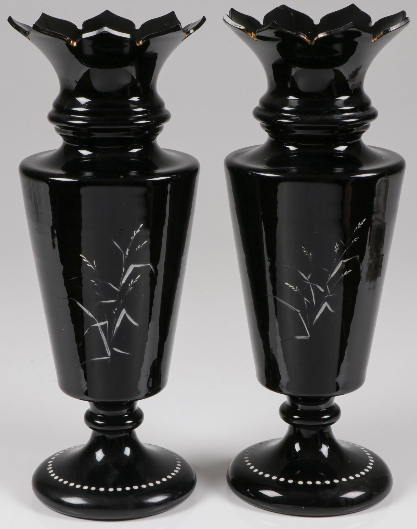 Lot 49 - EXCEPTIONAL PAIR MARY GREGORY VASES, C. 1890