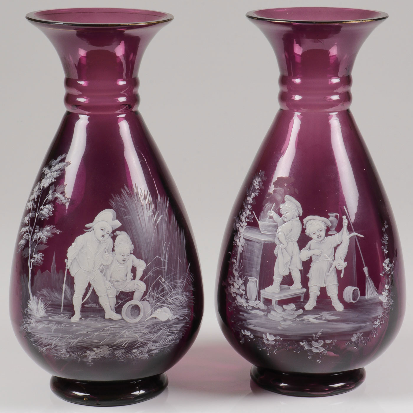 Lot 56 - PAIR OF SPECTACULAR MARY GREGORY VASES, C. 1890