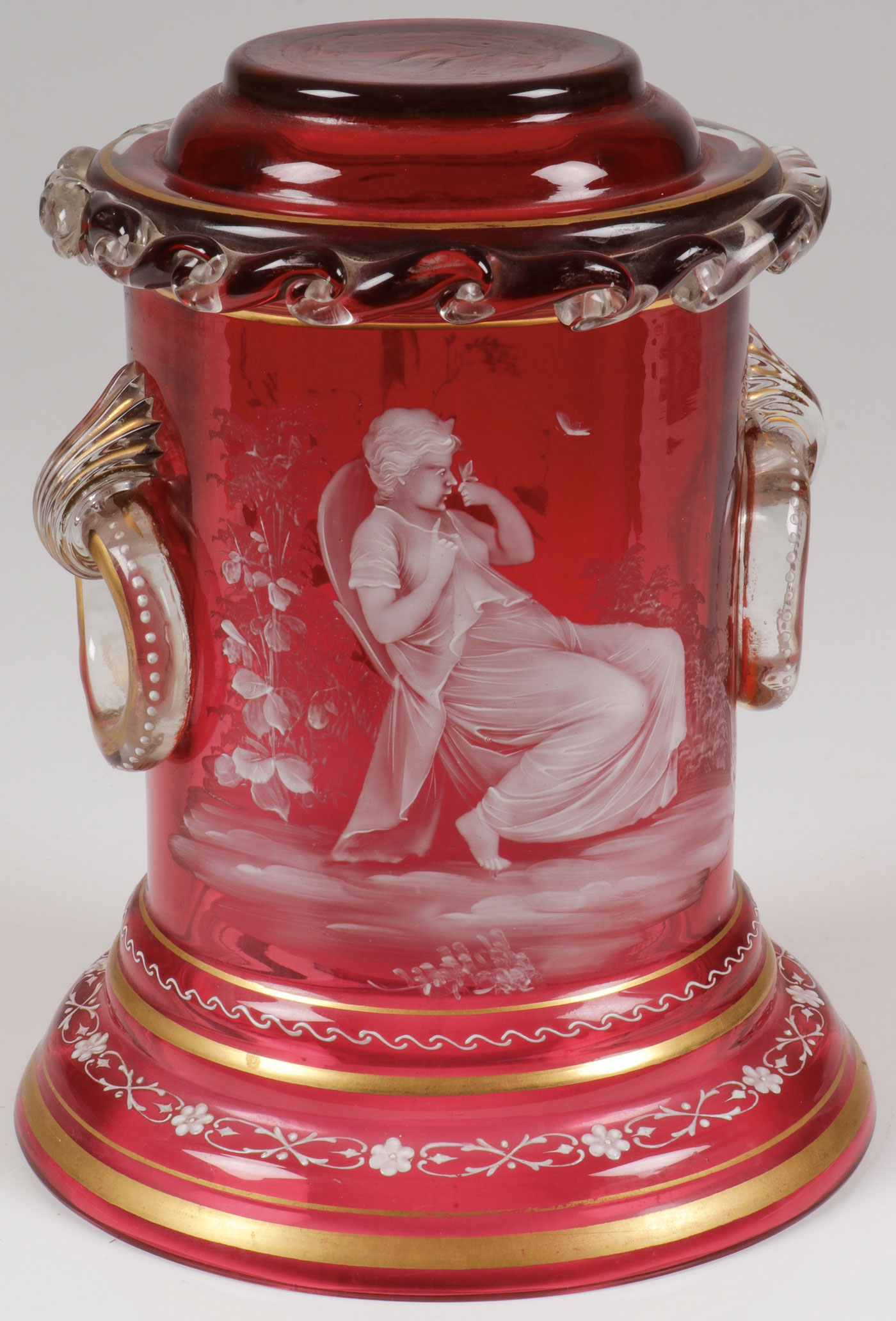 Lot 4 - MARY GREGORY CRANBERRY PEDESTAL, C. 1890