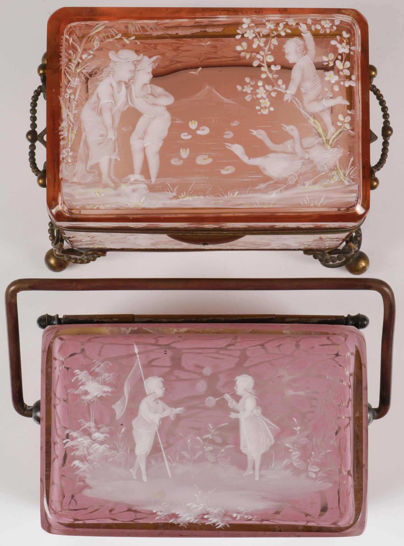 Lot 42 - A PAIR OF MARY GREGORY BOXES