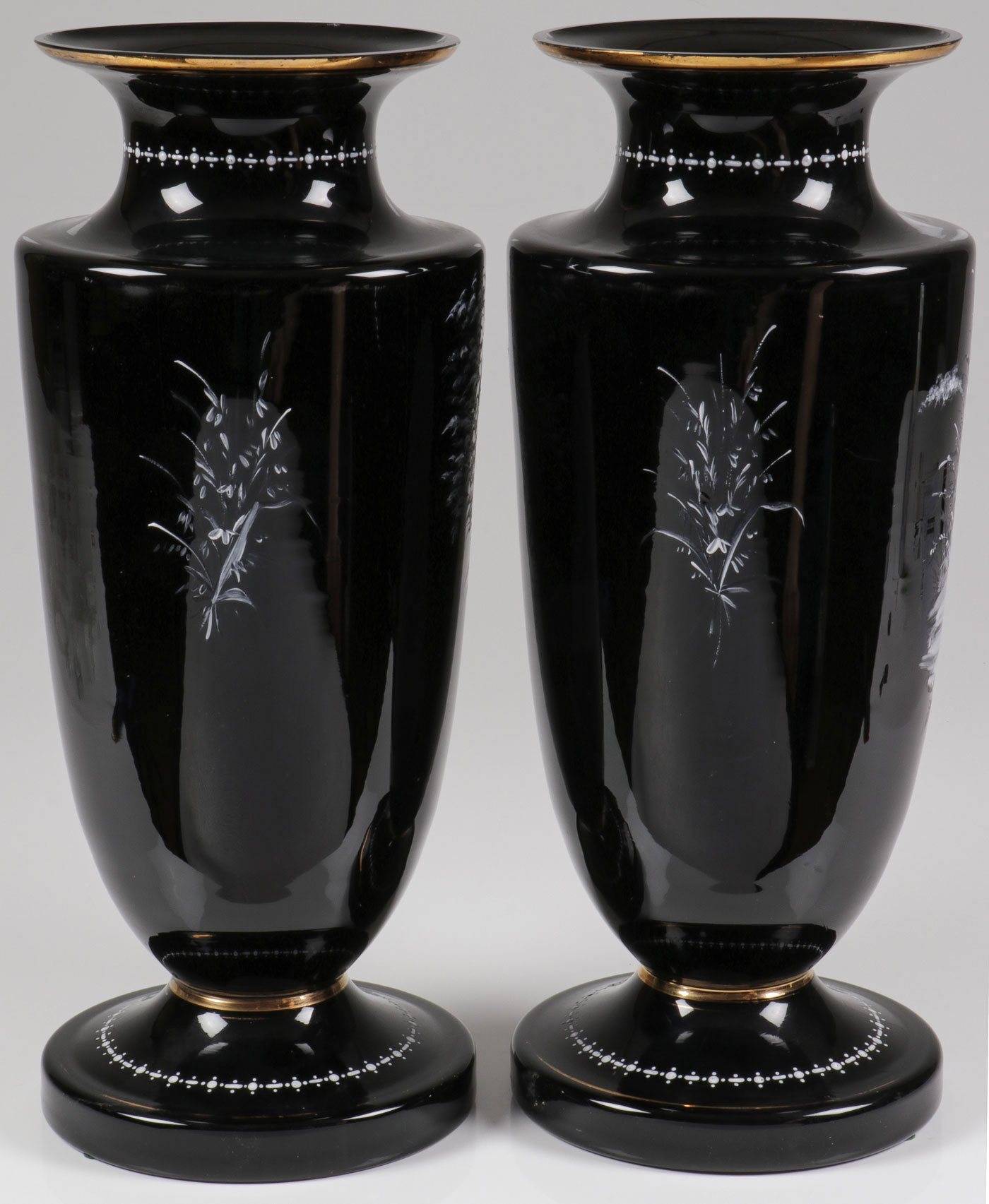 Lot 47 - PAIR MONUMENTAL MARY GREGORY MANTEL VASES, C 1890