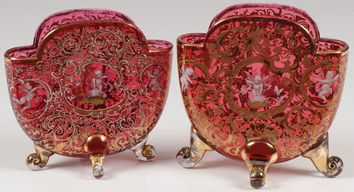 Lot 6 - PAIR OF MARY GREGORY PILLOW VASES, C. 1900