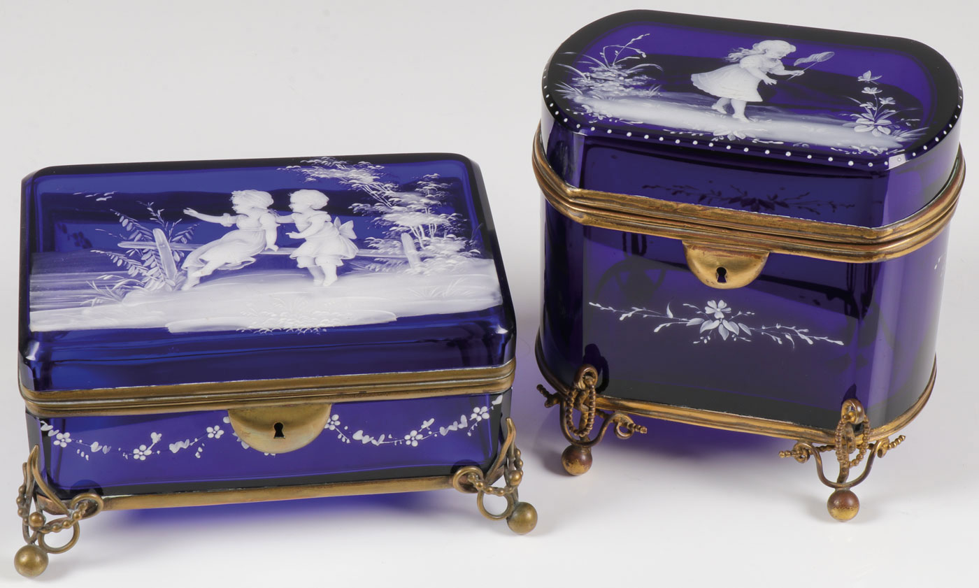 Lot 36 - TWO MARY GREGORY COBALT BOXES, C. 1880