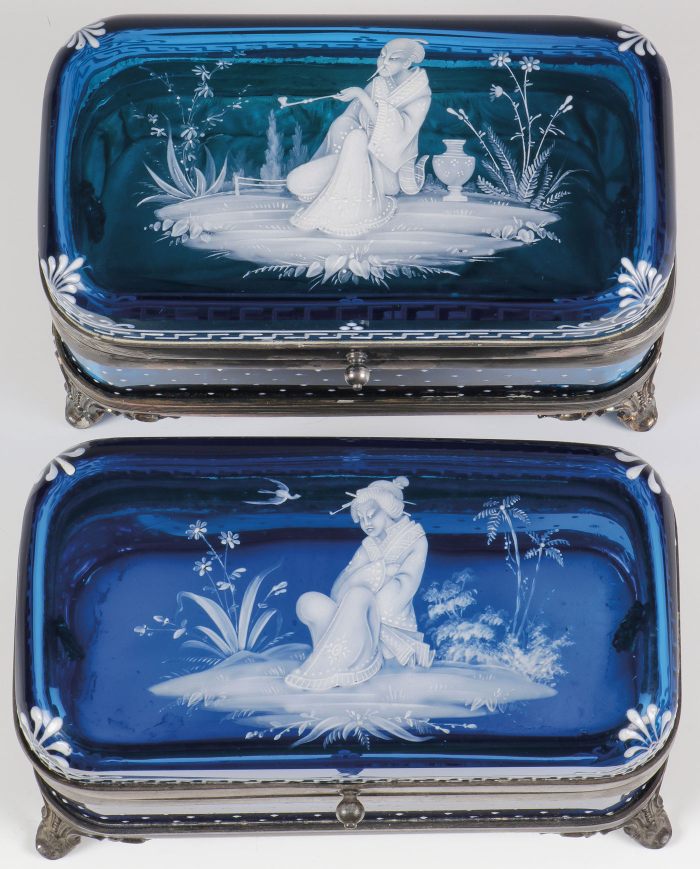 Lot 31 - TWO MARY GREGORY BOXES, C. 1890