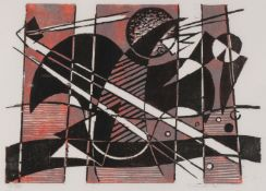 WERNER DREWES SIGNED WOODCUT
