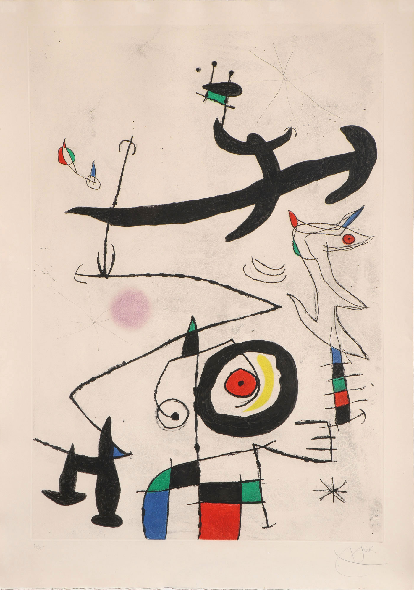 LARGE MIRO SIGNED ETCHING, 1969