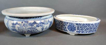 A Chinese Underglaze Blue Decorated Bowl 26cm diameter together with another Chinese underglaze blue
