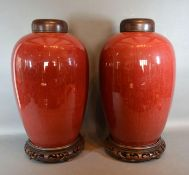 A Pair Of Late 18th / Early 19th Century Chinese Porcelain Red Glazed Large Jars each with a
