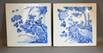 A Pair of 19th Century Chinese Porcelain Panels each decorated in underglaze blue with birds amongst