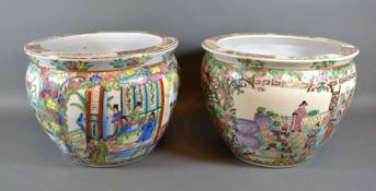 A Pair of 20th Century Chinese Fish Bowls, each decorated in polychrome enamels and highlighted with