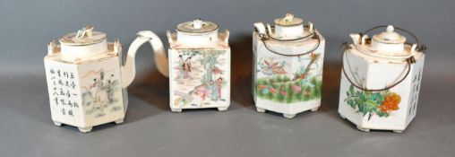 A 19th Century Canton Hexagonal Teapot together with three other similar