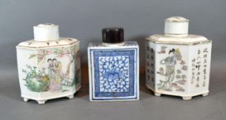 A Pair of Canton Hexagonal Tea Caddies Decorated in Polychrome enamels and script together with a