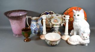 A German Porcelain Two Handled Vase together with a collection of other ceramics and glassware