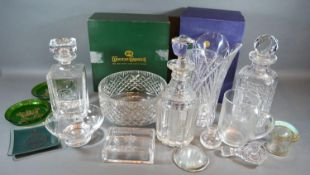 An RCR Crystal Glass Vase together with a small collection of other glassware to include military