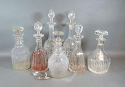 Two Pairs of Glass Decanters with stoppers together with three other cut-glass decanters