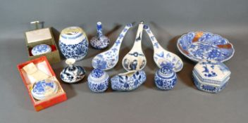 A Collection of Chinese Blue and White Ceramics to include a pair of miniature covered ginger