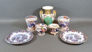 A Pair of 19th Century Ironstone Small Vases decorated in the Imari palette together with two