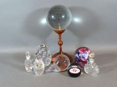 A Caithness Millefiori Glass Paperweight together with three other paperweights, two glass scent