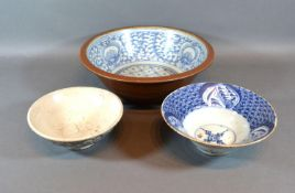 A Chinese Porcelain Bowl decorated in underglaze blue 27cm diameter together with two similar