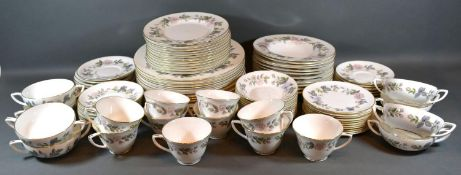 A Royal Worcester June Garland Dinner and Tea Service comprising plates, cups, saucers and other