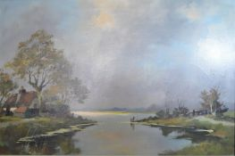 Lutz, Lake Scene with House in the Foreground, oil on canvas, 60 x 90cm together with A Herbe, a