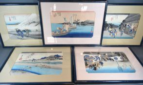 A Set of Five Chinese Watercolours, each depicting figures within landscapes and signed with script,