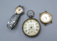 A Silver Cased Pocket Watch by Waltham together with a Roma gold-plated gentleman's wristwatch and a