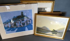 W. Heaton Cooper 'After Sunset' a signed print together with a collection of other pictures and