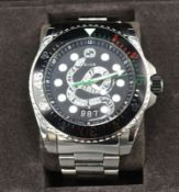 A Gucci Divers Stainless Steel Cased Gentlemen's Wrist Watch with snake dial with stainless steel