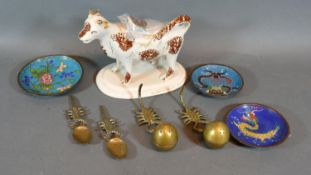 A 19th Century Cow Creamer, together with three cloisonne dishes and two brass condiments with