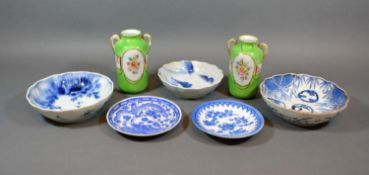 A Group of Three Japanese Underglaze Blue Decorated Bowls, together with two similar smaller and a