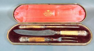 A Sheffield Silver and Bone Handled Three Piece Carving Set within fitted lined case by the