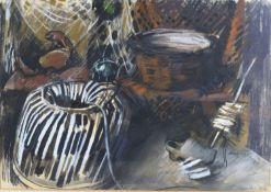 Alexander Goudie 'The Lobster Pot' mixed media, signed and dated 64, 30 x 42 cms