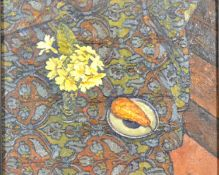 Francis Hewlett RWA 'Still Life with Primroses' Oil on Canvas on Panel dated 1994 signed verso 19