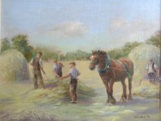 E Hunter 'Haymaking' Oil on Canvas, signed and dated 1991, 38 x 48 cms