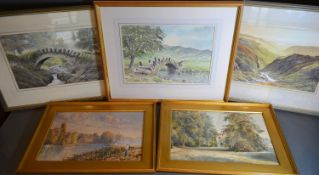 Headon 'View of the Lake District' watercolour together with two others by the same artist and two